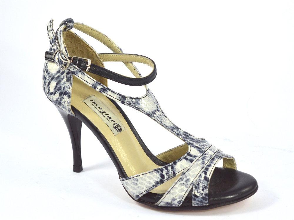 Γυναικείο παπούτσι tango argentino, open toe από γκρι-μπεζ μαλακό δέρμα φίδι