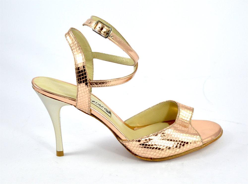 Γυναικείο παπούτσι χορού tango open heel από χρυσό μπρονζέ δέρμα φίδι
