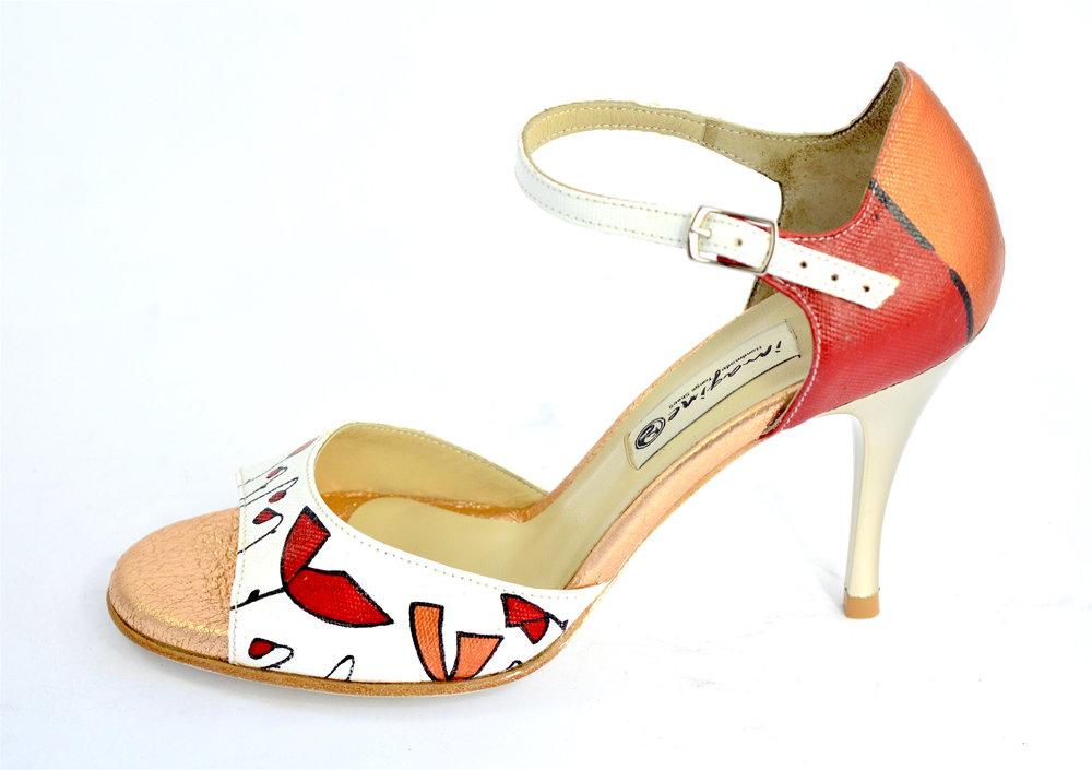 Γυναικείο παπούτσι αργεντίνικου τάνγκο, open toe, ζωγραφισμένο στο χέρι