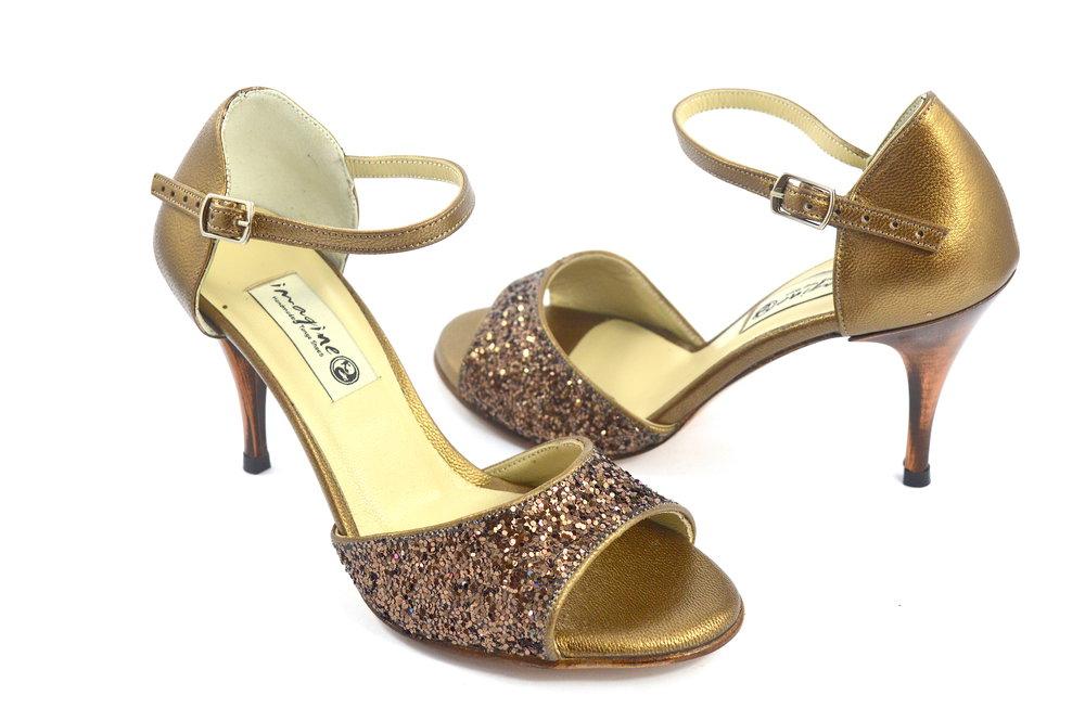 Γυναικείο παπούτσι αργεντίνικου tango open toe από μπρονζέ γκλίτερ