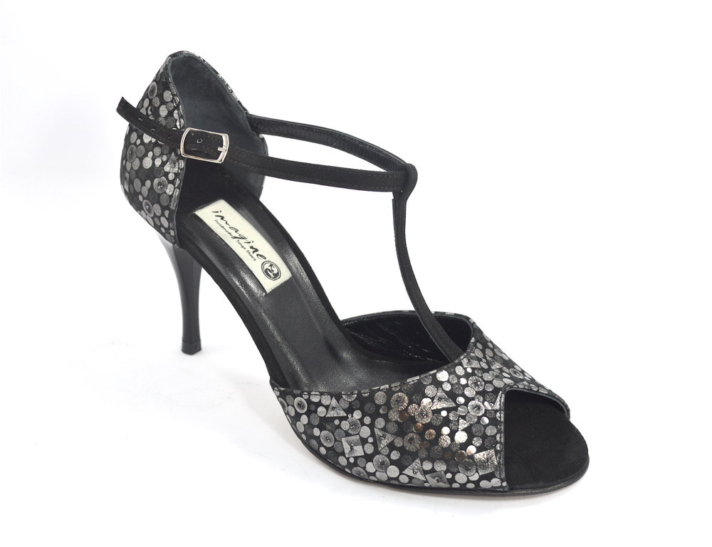 2cdc944f602 Γυναικείο παπούτσι χορού αργεντίνικου tango peep toe από μαύρο-ασημί μαλακό  δέρμα