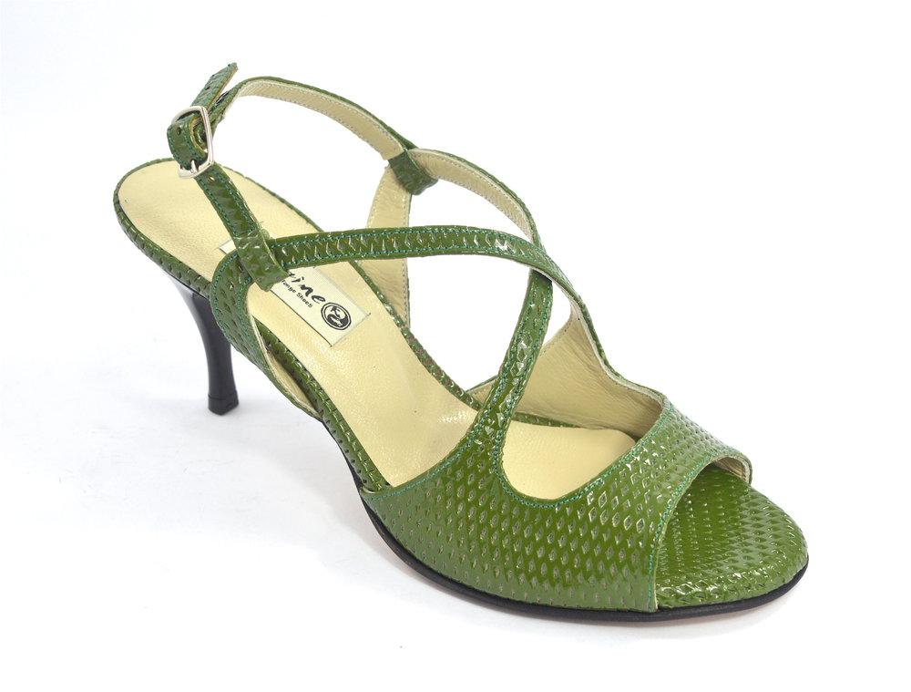 Γυναικείο παπούτσι τάνγκο, ξώφτερνο, από πράσινο δέρμα φίδι