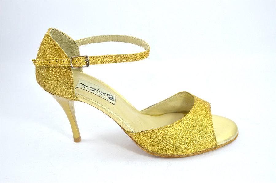 Γυναικείο παπούτσι χορού αργεντίνικου tango open toe από χρυσό γκλίτερ