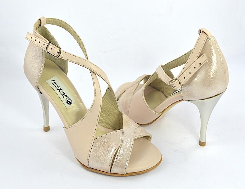Γυναικείο παπούτσι tango open toe από nude μαλακό ματ δέρμα και nude δέρμα πέρλα