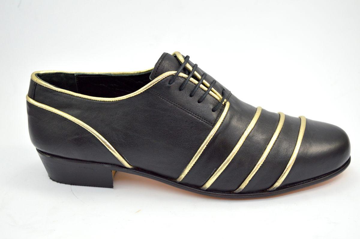 Ανδρικό παπούτσι τάνγκο από μαύρο και χρυσό δέρμα