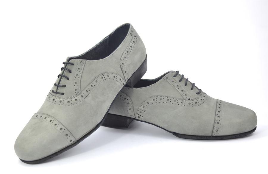 Ανδρικό παπούτσι τάνγκο από γκρι σουέτ δέρμα