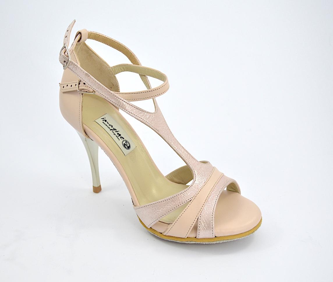 Γυναικείο παπούτσι tango argentino, open toe από μπεζ-ροζ μαλακό ματ δέρμα και ανοιχτό ροζ δέρμα πέρλα