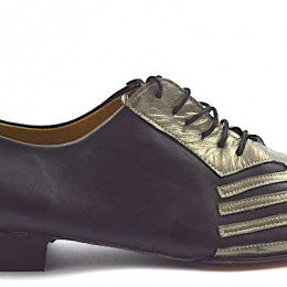 Men tango shoe by soft black and silver leather