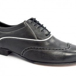 Men tango shoe by soft black leather and white seams