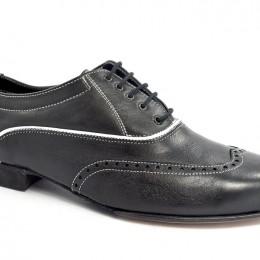 Ανδρικό παπούτσι τάνγκο από μαύρο δέρμα και λευκά γαζιά