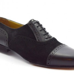 Men tango shoe by black and suede leather