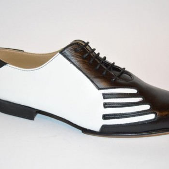 Ανδρικό παπούτσι τάνγκο από μαύρο και λευκό δέρμα 41ec824d19b