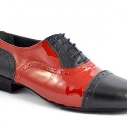 Ανδρικό παπούτσι χορού τάνγκο από κόκκινο λουστρίνι και μαύρο δέρμα