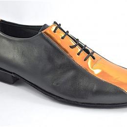 Ανδρικό παπούτσι αργεντίνικου τάνγκο από μαύρο δέρμα και μπρονζέ λουστρίνι