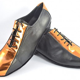 Men Argentine tango shoes by soft black and bronze patent leather