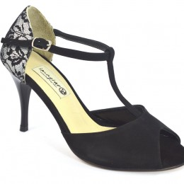 Women's Tango Shoe, peep toe style, with black lace and black suede