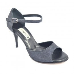 Women Tango Shoe , open toe style, black glitter and leather with 8,5cm heel