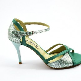 Women Tango Shoe, open toe style, green leather and silver leather