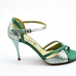 Γυναικείο παπούτσι τάνγκο από πράσινο και ασημί δέρμα
