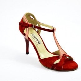 Women Tango Shoe, by red suede and pink pearl leather