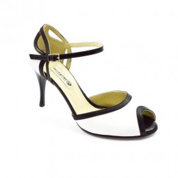 Women's Tango Shoe, peep toe style, with white and black soft leather