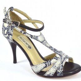 Women Argentine Tango Shoe, by grey-beige snake leather and black leather