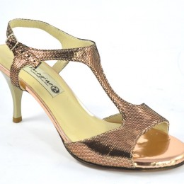 Women's Argentine Tango Shoe, open heel style, by gold-bronze tone soft leather