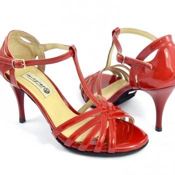 Γυναικείο παπούτσι open toe με λουράκια από κόκκινο λουστρίνι 25d00f1449e