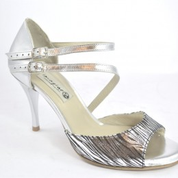 Women Argentine Tango Shoe, open toe style, with double strap, in combination of silver leather and silver-black soft leather