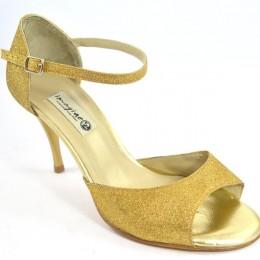 Women Argentine Tango Dance Shoes, in gold glitter