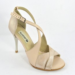 Women's Tango Shoe, open toe style, with beige-nude soft leather and nude pearlized leather