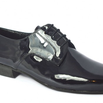 Ανδρικό παπούτσι χορού τάνγκο Plain Toe από μαύρο λουστρίνι 9914b29f228