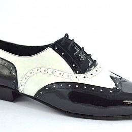 Men tango shoe by black patent and soft white leather