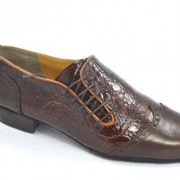 Men argentine tango dance shoes in soft brown crocodile leather and soft brown leather