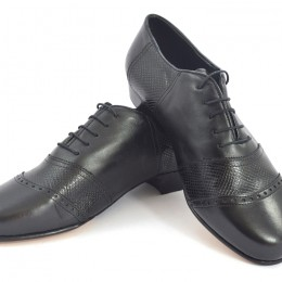 Men tango shoe by soft black leather and black snake leather