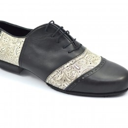 Men tango shoeσ by soft black leather and beige paisley leather