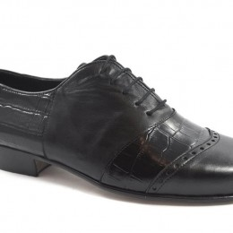Men tango shoe by soft black leather and black crocodile leather