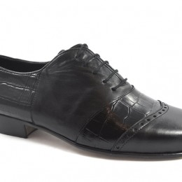 Men tango shoe by black crocodile leather and soft black leather