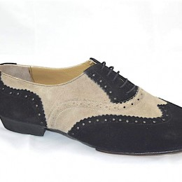 Men tango shoe by soft black and white leather
