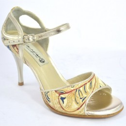 Women argentine tango dance shoes, in Paisley beige and gold leather