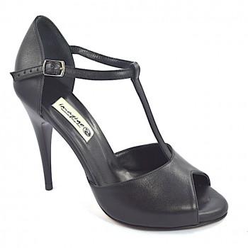 1051ba1e97e Γυναικείο παπούτσι χορού αργεντίνικου τάνγκο, peep toe από μαύρο μαλακό  δέρμα