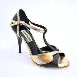 Women's Tango Shoe, peep toe style, black and gold soft leather