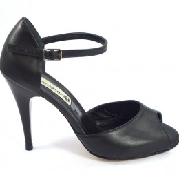 Women's Tango Shoe, peep toe style, with black soft leather