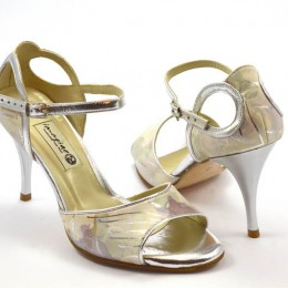 Women's Tango Shoe, open toe style, by beige and silver soft leather