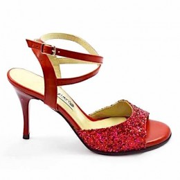 Women's Tango Shoe, open heel style, red soft leather and glitter