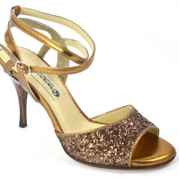 Women's Tango Shoe, open heel style, gold soft leather and bronze glitter