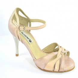 Women's Tango Shoe, open toe style, with nude and light pink soft leather