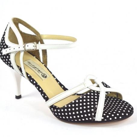 19d58e2fc59e Γυναικείο παπούτσι tango open toe από λευκό λουστρίνι και ασπρόμαυρο πουά