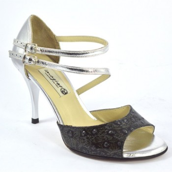 b4c167e1cdc Γυναικείο παπούτσι αργεντίνικου τάνγκο, open toe με διπλό λουράκι από ασημί  δέρμα και ιδιαίτερο μαύρο-χακί λουστρίνι