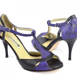 Γυναικείο παπούτσι αργεντίνικου tango peep toe από μαύρο με μωβ δέρμα